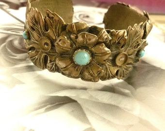 Vintage 50's Silver Plated Turquoise paste Bracelet. 50's Bracelet. Flower Bracelet