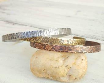 Set of stackable bracelets, Bohemian, metal, copper, brass, zinc, hammered, oxidized, old, gold, silver