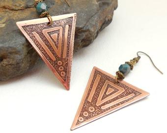 Triangle brass, Pearl blue/green, ethnic earrings