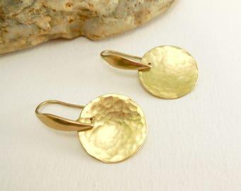 Minimalist, round gold Stud Earrings hammered brass - brass jewelry