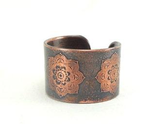 Copper ring, engraved yoga mala, Adjustable ring, copper ring, mandala, mandala zen yoga jewelry