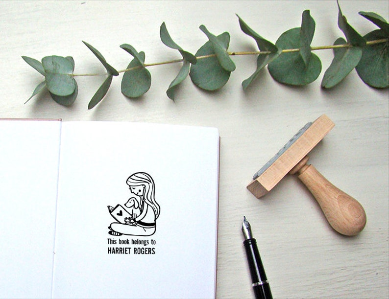 Custom Ex Libris Stamp  Personalized Book Stamp  Easter Stamp  Easter Gift  Wooden Stamp  Name Stamp for Kids