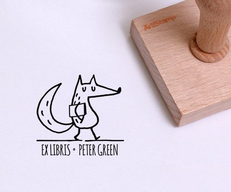 Fox Name Stamp for Kids  Custom Ex Libris  Personalized Book Stamp  Animal Stamp