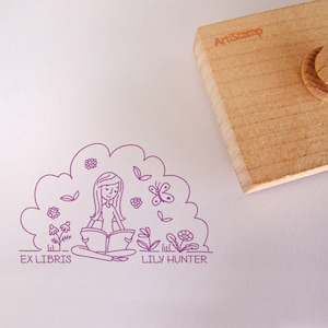 Butterfly Personalized Gift  Custom Rubber Stamp  Book Lover  Monogram Gifts For Women For Girl  Ex Libris  Love Live Stamp