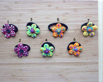 Citrus color flower ponytail holder-bubbles-animal print-orange-green hair ties-hold hair-pony tail-On Sale-cute elastic band-citrus colors