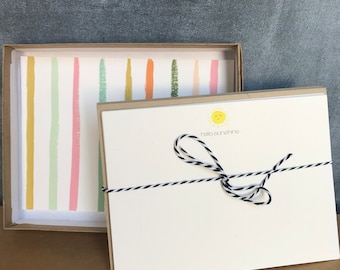 Hello Sunshine Stationery Set of 10 Cards & Envelopes