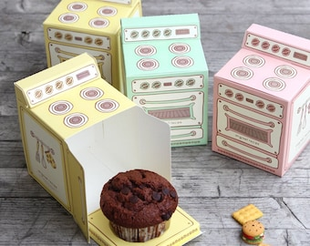 3 Retro Oven Cupcake Box ,Kawaii Vintage Bun In Oven Treat, Party Favor Box, Birthday Wedding Baby Shower, Favor Box, Cute Box
