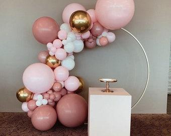 Dusty Pink Rosewood, Pink, Sangria, Burgundy ,Cream Peach, Gold balloon garland, Balloon Garland, Matte Peach,