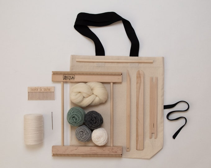 "10"" Frame Loom Weaving Kit / Everything you need to make your own woven wall hanging / Gray"