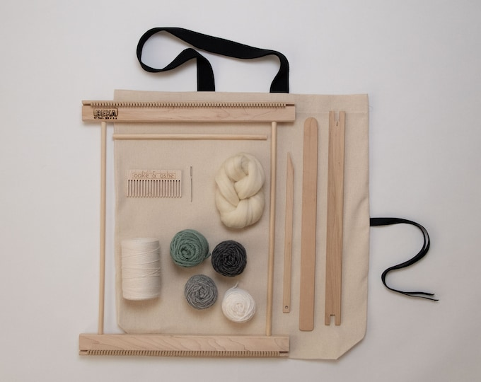 "14"" Frame Loom Weaving Kit / Everything you need to make your own woven wall hanging / Gray"