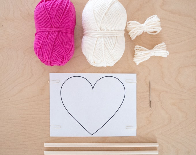 Frame Loom Weaving Kit, Heart Weaving, Make a Valentine weaving for a loved one or gift the valentine kit to a weaver