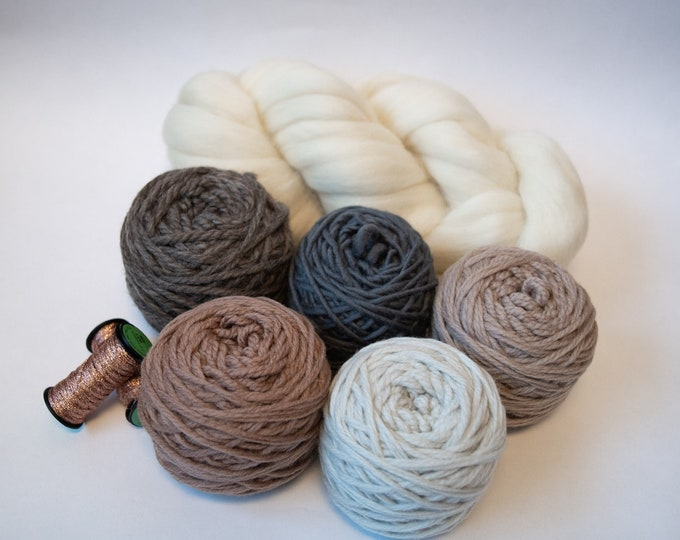 Weaving Yarn Pack - Neutrals with Light Copper Ribbon