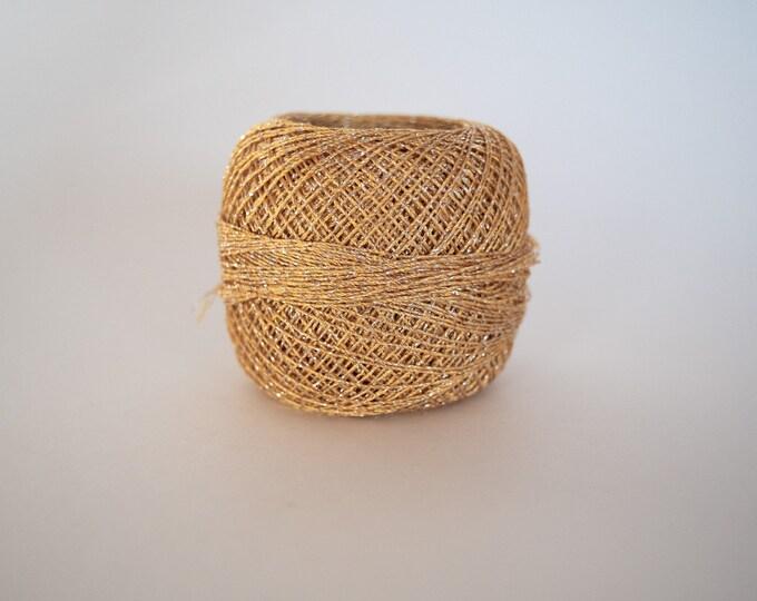 Gold w/ Silver Camellia YarnArt Metallic - Weight Size 0 Lace, Crochet Thread. 20g