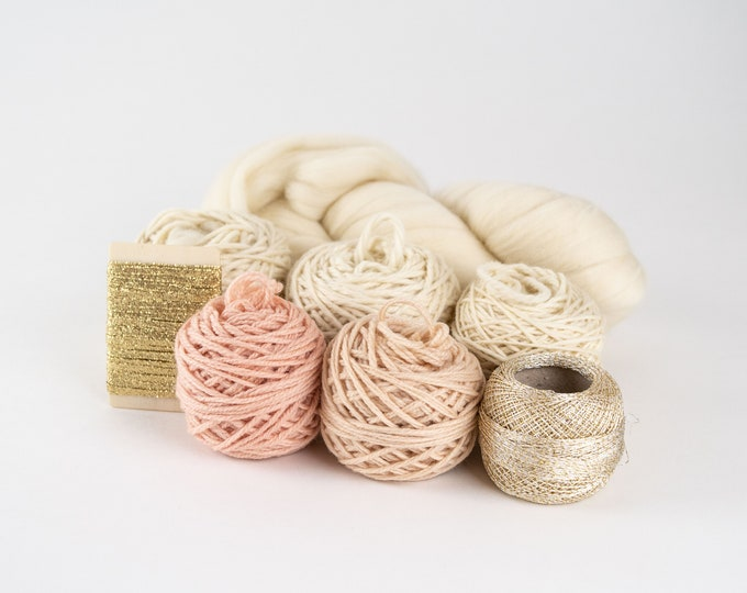 Blush/Cream/Gold or Green/Cream/Gold Weaving Yarn Pack