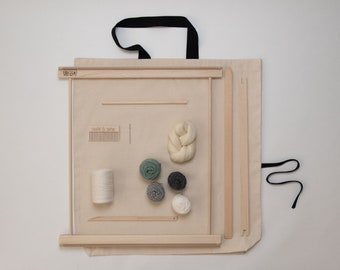 """20"""" Frame Loom Weaving Kit / Everything you need to make your own woven wall hanging Grey/Moss"""
