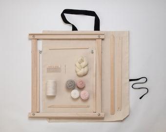 """20"""" Deluxe Standing Weaving Frame Loom Blush Kit"""