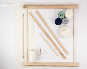 "20"" Frame Loom Weaving Kit / Everything you need to make your own woven wall hanging Moss/Navy"