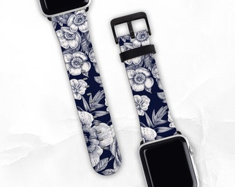 Ebony Floral Band For Apple Watch Series 1, 2, 3, 4, 5, 6 & SE, Watch Band 38/40mm, 42/44mm. Apple Watch Strap, Vegan Leather, Faux Leather