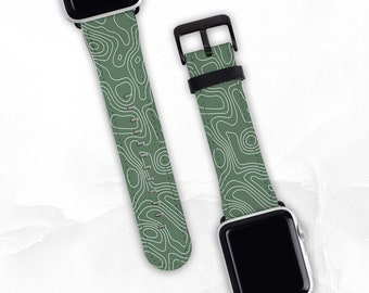 Contour Band For Apple Watch Series 1, 2, 3, 4, 5, 6 & SE, Watch Band 38/40mm, 42/44mm. Apple Watch Strap, Vegan Leather, Faux Leather
