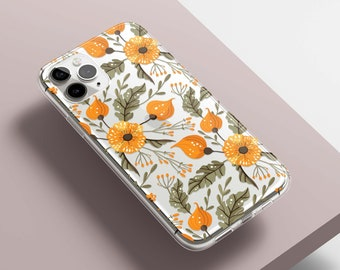 Floral Protective Clear Case for iPhone, Samsung, Pixel- iPhone 13, 13 Pro, 12, 11, SE, XR, Samsung S21, S20, S10, Pixel 5, 4 3 XL, 4a