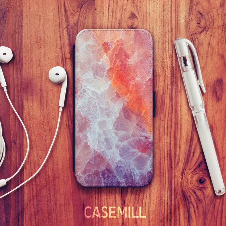 iPhone 8 Wallet Case iPhone X Wallet Case Orange Marble iPhone image 0