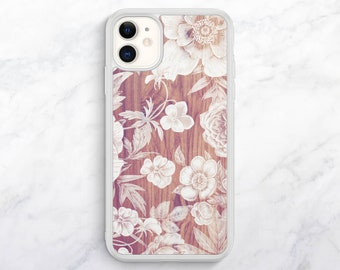 Wood Floral Print iPhone 11 Case Floral iPhone XR Case iPhone 12 Case iPhone XS Case Floral iPhone 8 Case iPhone 7 Case iPhone SE Case