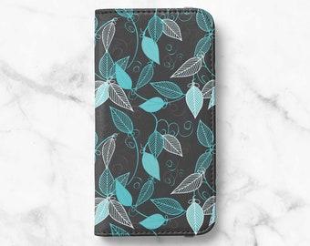 Indigo Leaf iPhone 12 Wallet iPhone 11 Wallet iPhone SE Wallet iPhone XR Wallet iPhone 8 Wallet iPhone XS Wallet iPhone 8 Plus Wallet