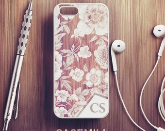 Custom Name Wood Floral iPhone 7 Case Personalized iPhone 6s Case iPhone 6 Plus Case iPhone 6s Plus Case Monogram iPhone 5s Case 5c Case