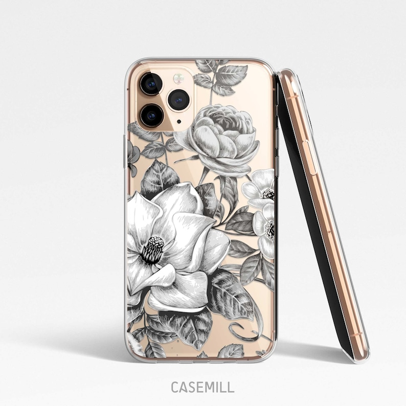 Noir Floral Clear Case for iPhone Samsung Huawei Google image 0