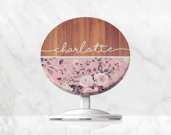 Wireless Charger, Custom Floral Name QI Charger, Charging Stand for iPhone, Samsung, Google Pixel, Huawei, Induction Phone Charger