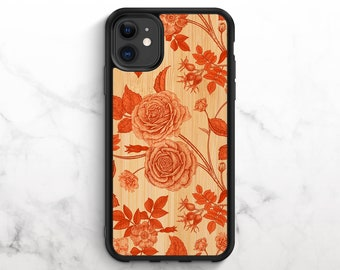 Real Wood iPhone Case iPhone 11 Case iPhone XR Case iPhone 8 Case iPhone 11 Pro Case iPhone XS Case iPhone 8 Plus Case Floral Print