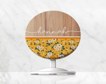 Wireless Charger, Personalised Floral Name QI Charger, Charging Stand for iPhone, Samsung, Google Pixel, Huawei, Induction Phone Charger