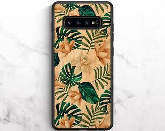 Real Bamboo Case For Samsung Galaxy S10, Samsung Galaxy S9, Samsung Galaxy S10 Plus, Samsung Galaxy S9 Plus, Real Wood, Banana Leaf Print