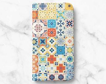 Portuguese Tile Print iPhone 12 Wallet iPhone 11 Wallet iPhone SE Wallet iPhone XR Wallet iPhone 8 Wallet iPhone XS Wallet iPhone 8 Plus