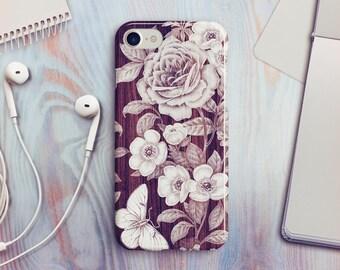 Wood Floral iPhone 7 Case Wood Floral iPhone 8 Case Wood Floral iPhone X Case iPhone 6s Case Floral iPhone SE Case iPhone 8 Plus Case A05