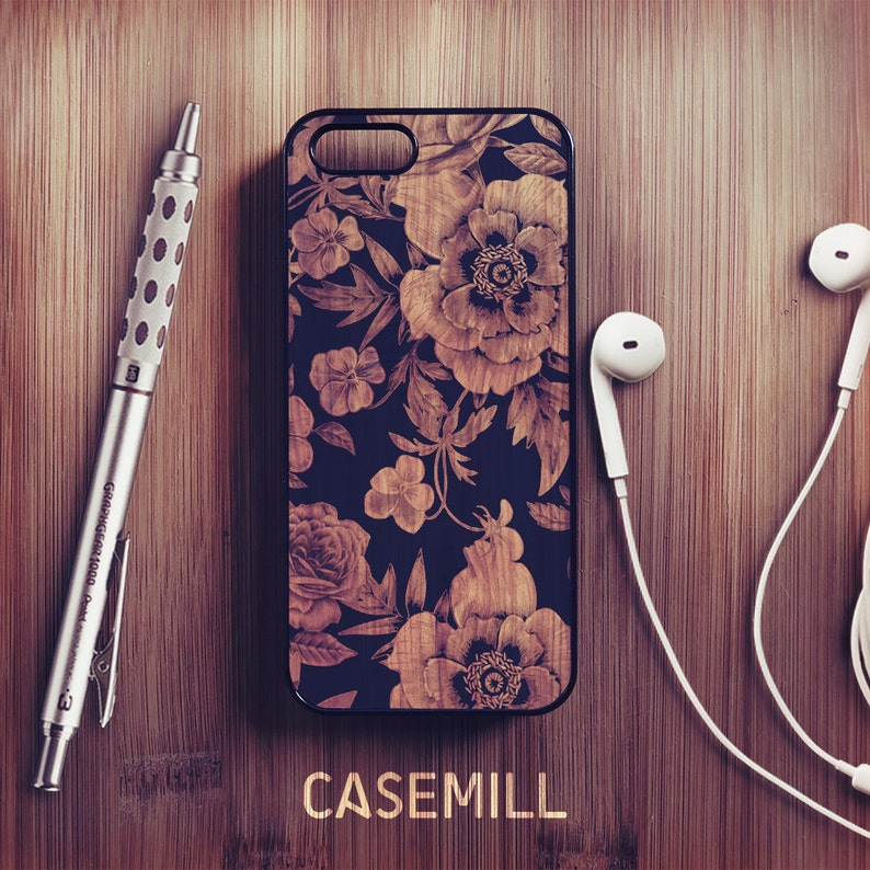 Wood Floral iPhone XR Case Floral iPhone XS Case iPhone 8 Plus image 0