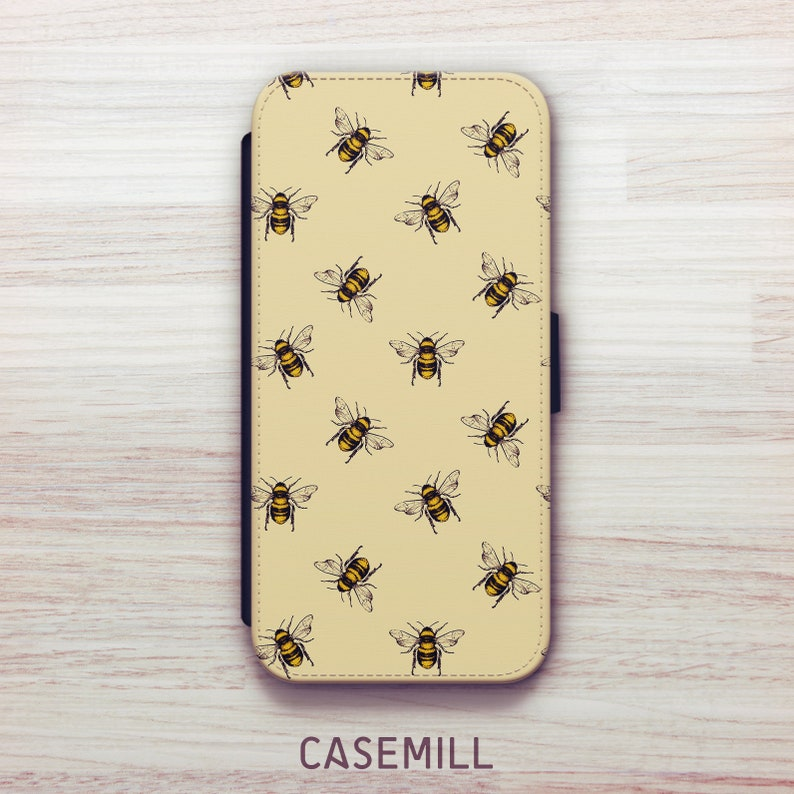 Yellow Bee Wallet Case For Samsung Galaxy S8 Wallet Case For image 0