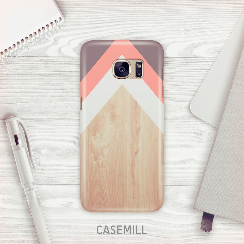 Chevron Wood Case For Samsung Galaxy S9 Pink Chevron Case For image 0