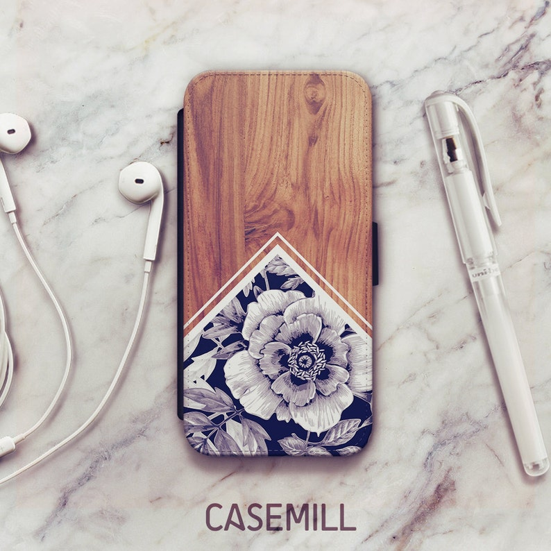 Wood Floral iPhone 8 Wallet Case Wood Floral iPhone 6s Wallet image 0