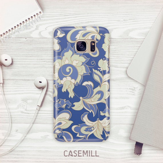 Vintage Wallpaper Case For Samsung Galaxy S9 Blue Floral Case Etsy