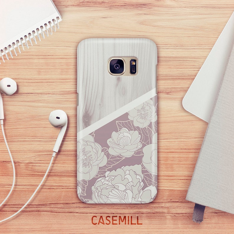 Wood Floral Case For Samsung Galaxy S9 Wood Blossom Case For image 0