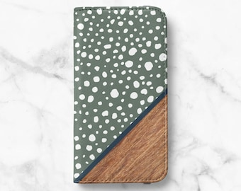Polka Dot Wood Print iPhone 13, 13 Pro, 12 Wallet, 12 Pro, iPhone 11, iPhone SE Wallet iPhone XR Wallet iPhone 8 Wallet iPhone XS Wallet