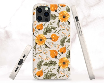 Autumn Floral Biodegradable Phone Case for iPhone 13, 13 Pro, 12, 12 Pro Max, 11, SE Eco-Friendly Bio Case for Samsung S21, S20, S21 Ultra
