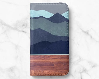 Mountain Wood Print iPhone 12 Wallet iPhone 11 Wallet iPhone SE Wallet iPhone XR Wallet iPhone 8 Wallet iPhone XS Wallet iPhone 8 Plus