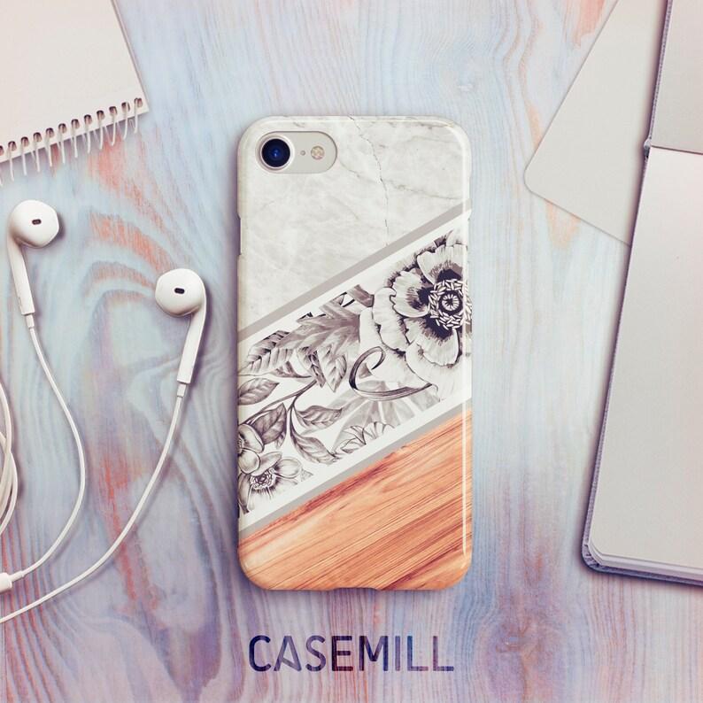 iPhone 7 Case iPhone 8 Case iPhone X Case Marble Blossom Wood image 0