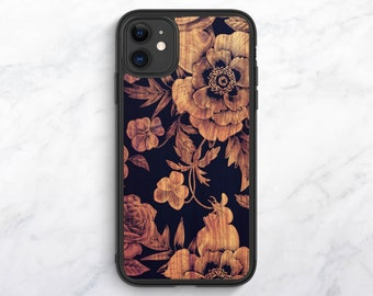 Wood Floral iPhone XR Case iPhone 11 Case iPhone 12 Case iPhone 8 Plus Case Floral iPhone 8 Case iPhone 7 Case iPhone SE Case iPhone 6