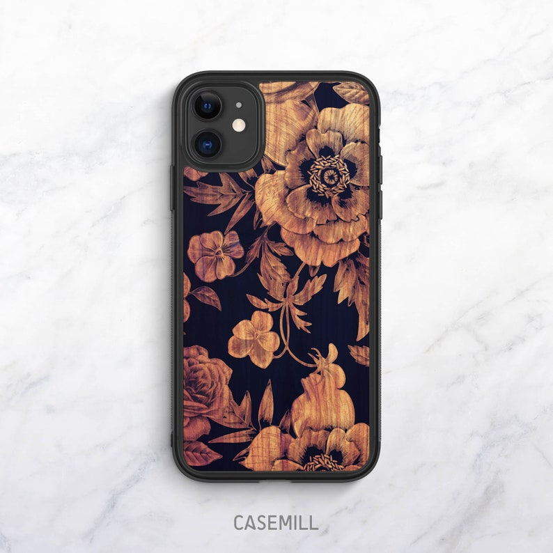 Wood Floral iPhone XR Case iPhone 11 Case iPhone 12 Case image 0
