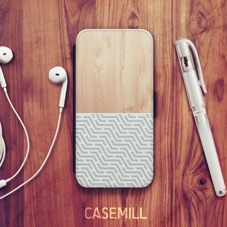 Wood Geometric iPhone XS Wallet Case iPhone XR Wallet Case image 0