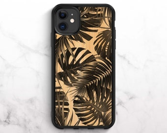 Real Bamboo iPhone Case iPhone 11 Case iPhone XR Case iPhone 8 Case iPhone 11 Pro Case iPhone XS Case iPhone 8 Plus Case Banana Leaf Print