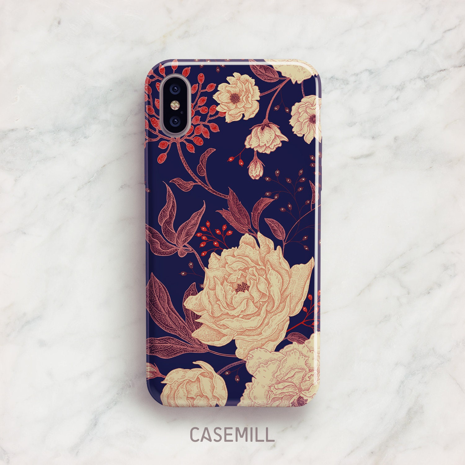 Navy Floral Iphone 7 Case Iphone 8 Case Iphone X Case Iphone 7 Etsy